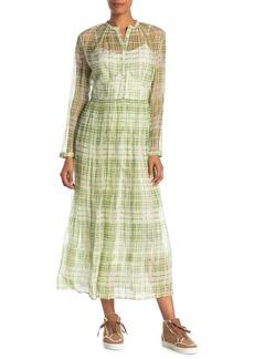 Burberry Adela Acide Micro Check Long Sleeve Dress