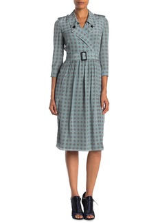 Burberry Agatha Floral Notch Lapel Silk Dress