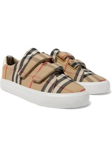 Burberry Ages 4 - 11 Leather-trimmed Checked Canvas Sneakers