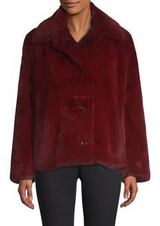 Burberry Allison Button-Front Faux Fur Coat