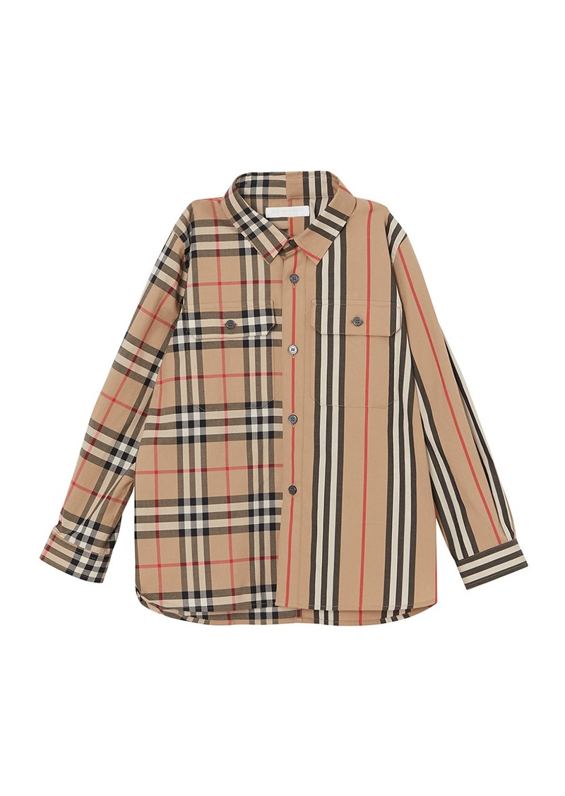 Burberry Amir Icon Stripe & Check Button-Down Shirt  Size 3-14