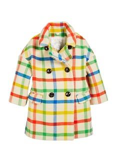 Burberry Angella Rainbow Check Virgin Wool Pea Coat