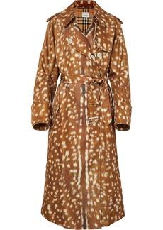 Burberry Animal-print Gabardine Trench Coat