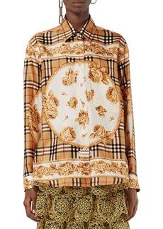 Burberry Archive Scarf-Print Silk Shirt