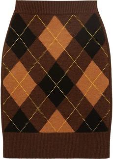 Burberry argyle check cashmere-blend skirt