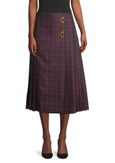 Burberry Arroux Long Plaid Midi Kilt