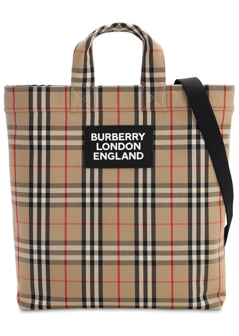 Burberry Artie Check Cotton Canvas Tote Bag