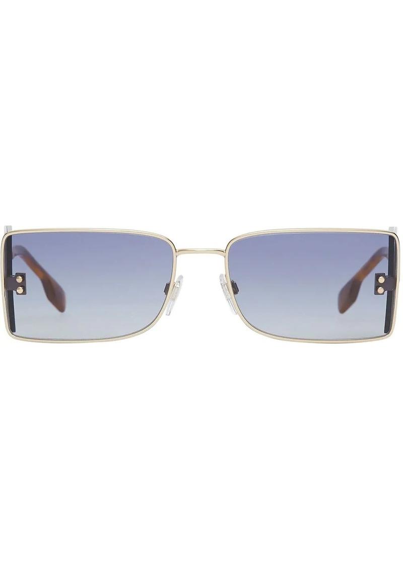 Burberry 'B' Lens Detail Rectangular Frame Sunglasses
