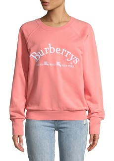 Burberry Battarni Oldschool Embroidered Logo Jersey Crewneck Sweatshirt