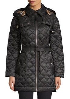 Burberry Baughton Quilted Long Jacket with Belt