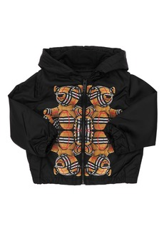 Burberry Bear Print Hooded Nylon Jacket