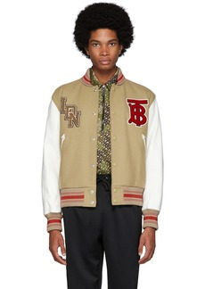 Burberry Beige & White Wool & Leather Padfield Bomber Jacket