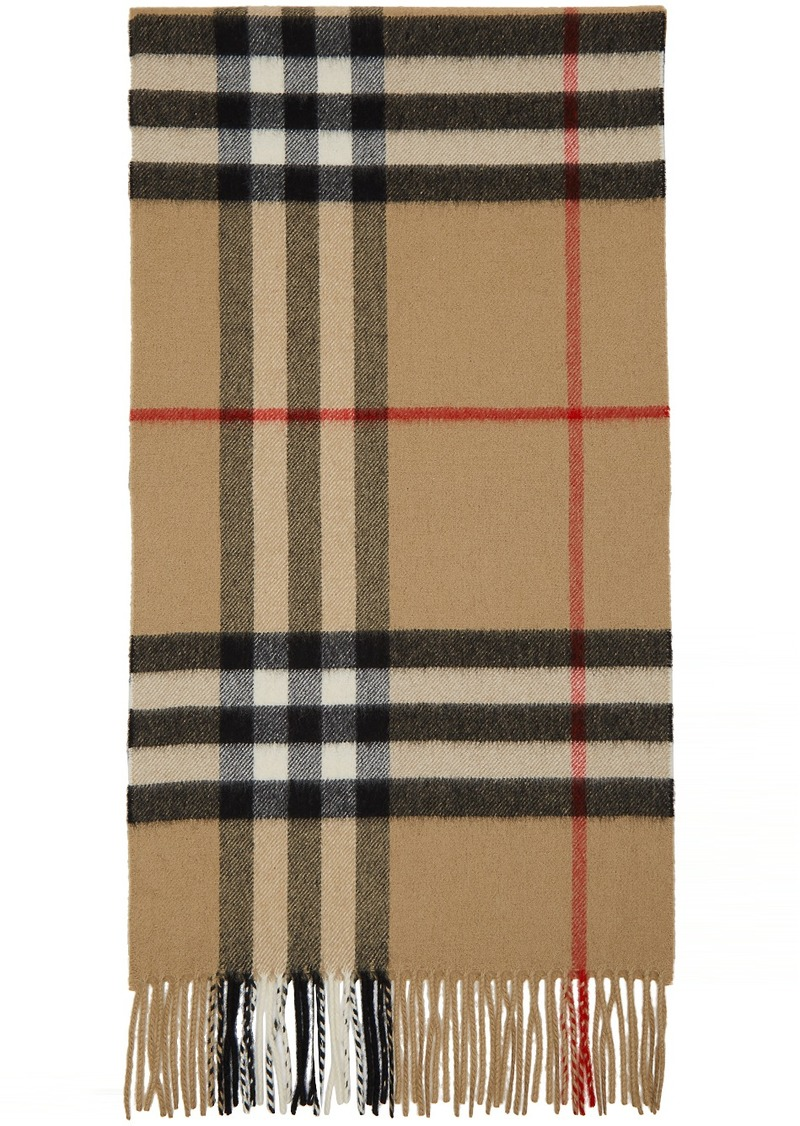 Burberry Beige Cashmere Classic Check Scarf