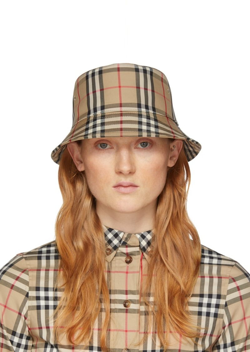 Burberry Beige Check Bucket Hat