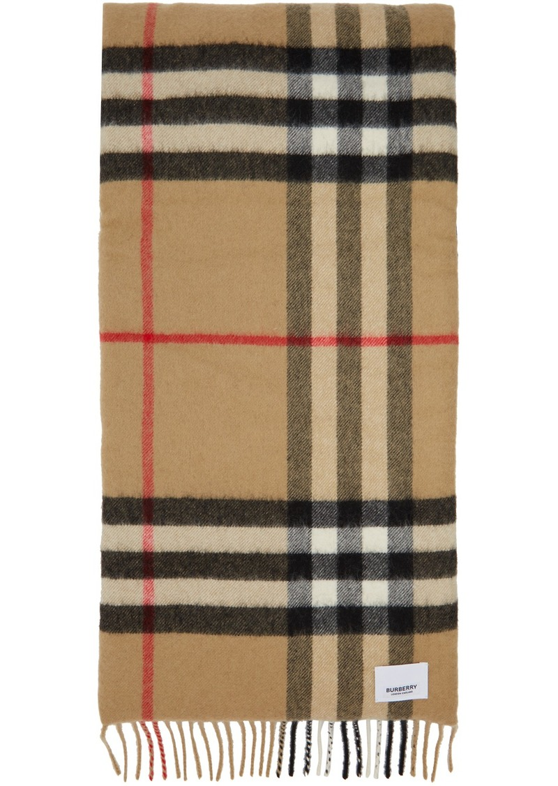 Burberry Beige Check Cashmere & Silk Wadded Scarf