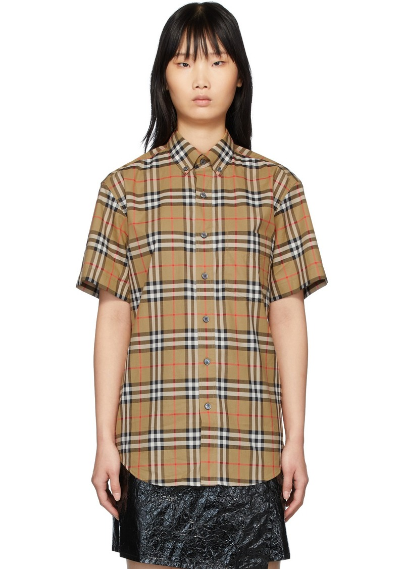 Burberry Beige Check Jameson Short Sleeve Shirt