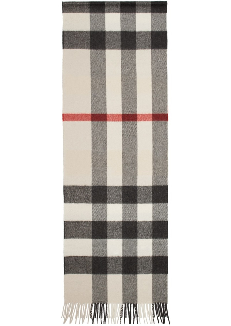 Burberry Beige Check 'The Cashmere Classic' Scarf