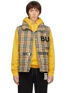 Burberry Beige Down Check Vest