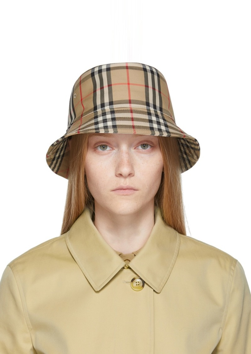 Burberry Beige Vintage Check Bucket Hat