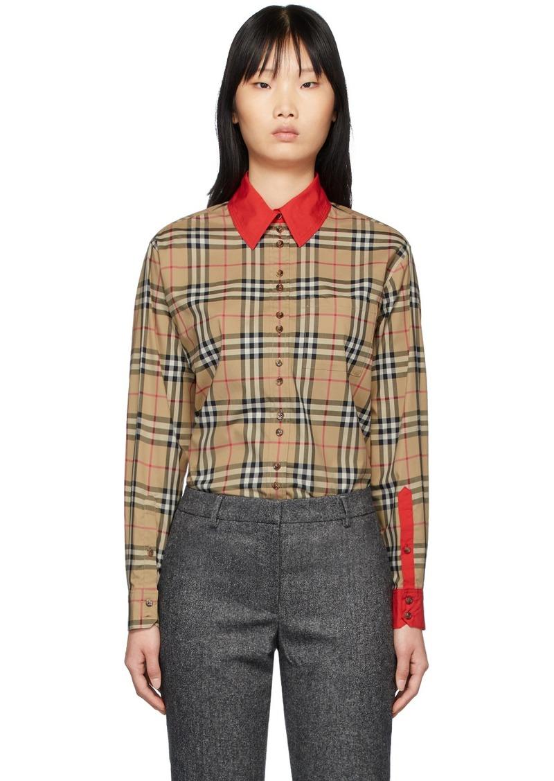 Burberry Beige Vintage Check Contrast Trim Carlota Shirt