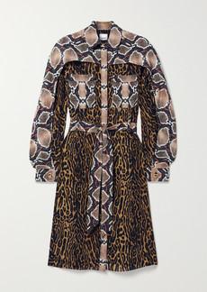 Burberry Belted Animal-print Silk-crepe Dress