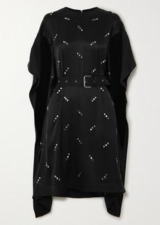 Burberry Belted Embellished Silk-satin Dress
