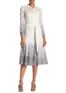 Burberry Belted Ombre Lace Dress