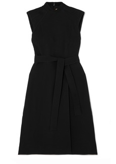 Burberry Belted Wool And Silk-blend Midi Dress