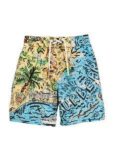 Burberry Ben Seaside-Print Swim Trunks