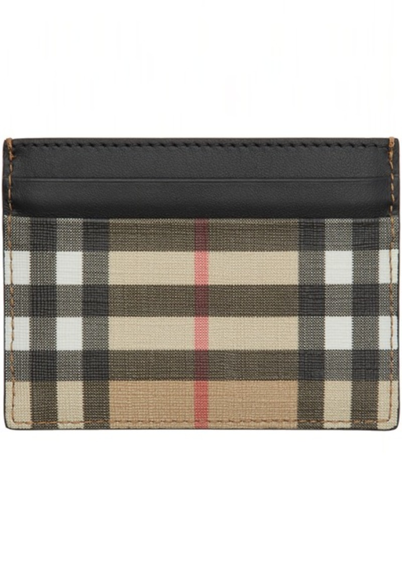 Burberry Black & Beige E-Canvas Card Holder