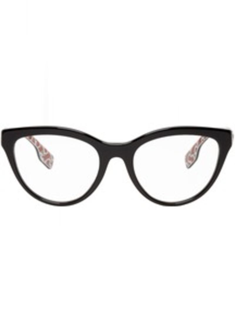 Burberry Black Acetate Monogram Cat-Eye Glasses
