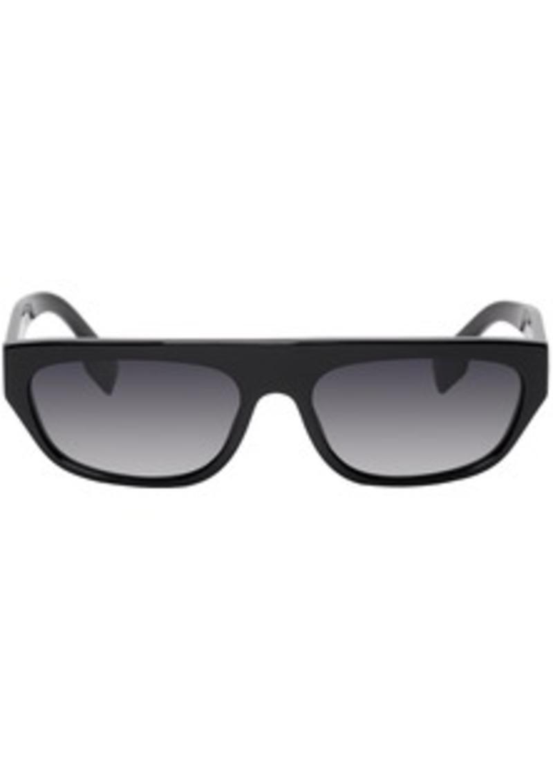 Burberry Black Acetate Rectangular Brow Sunglasses