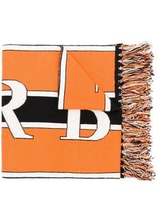 Burberry black and orange logo knit cashmere football scarf