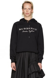 Burberry Black Embroidered 'London, England' Hoodie