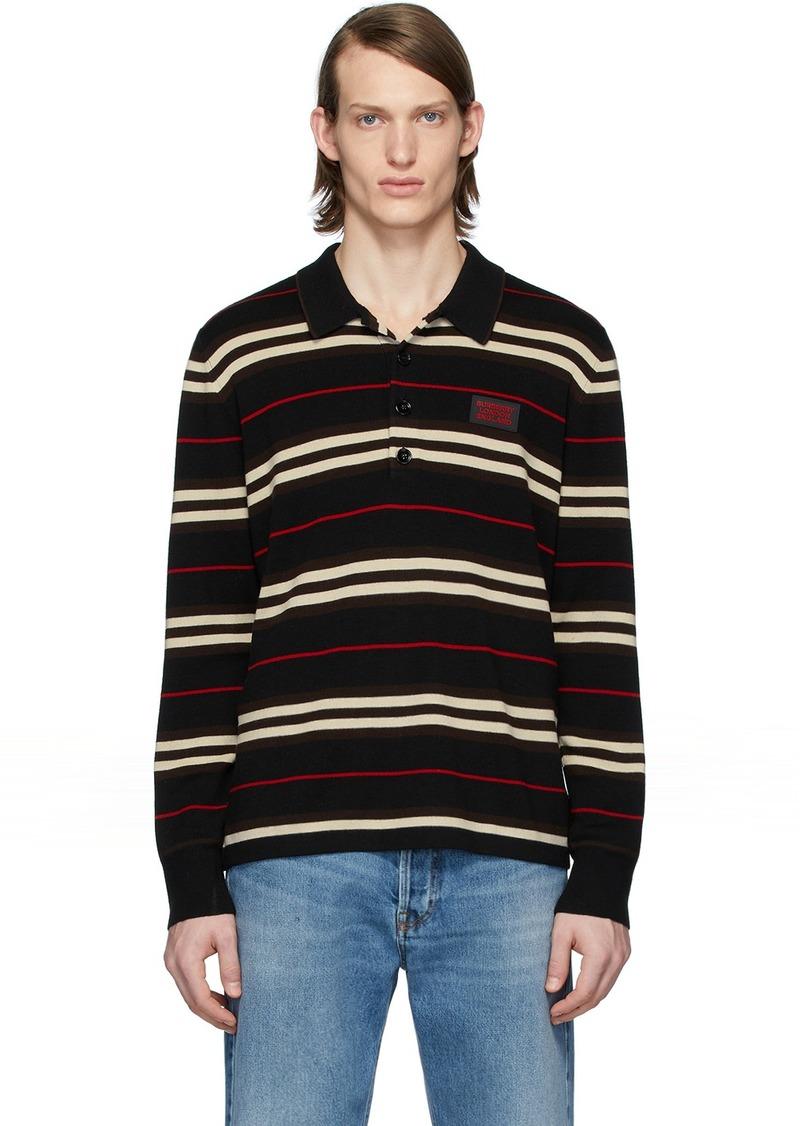 Burberry Black Icon Stripe Long Sleeve Polo