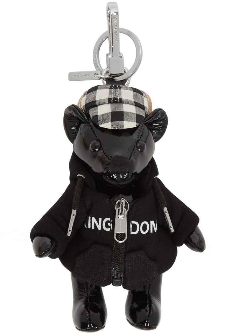 Burberry Black Leather Thomas Hoodie & Cap Keychain