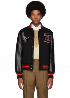 Burberry Black Wool & Leather Padfield Bomber Jacket
