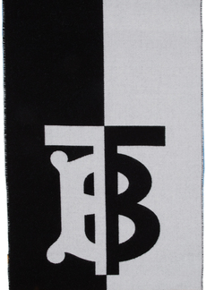 Burberry Blue & White Wool Football Scarf