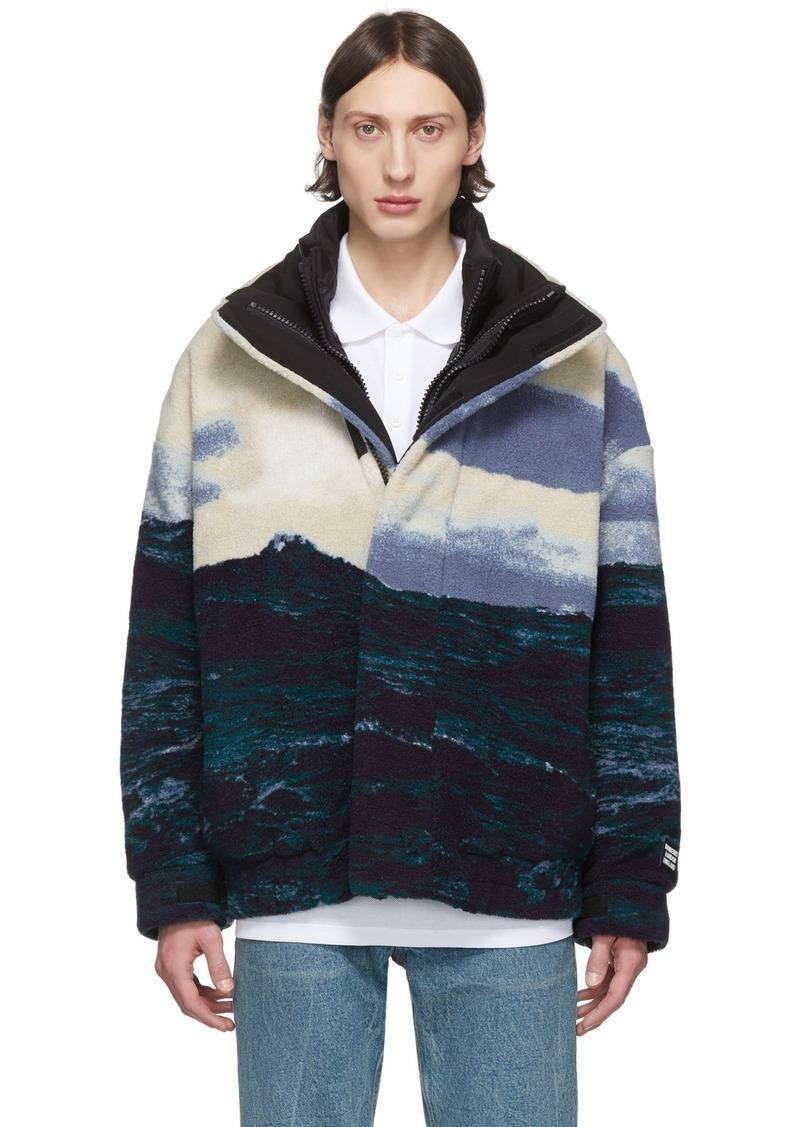 Burberry Blue Fleece Bomber Jacket
