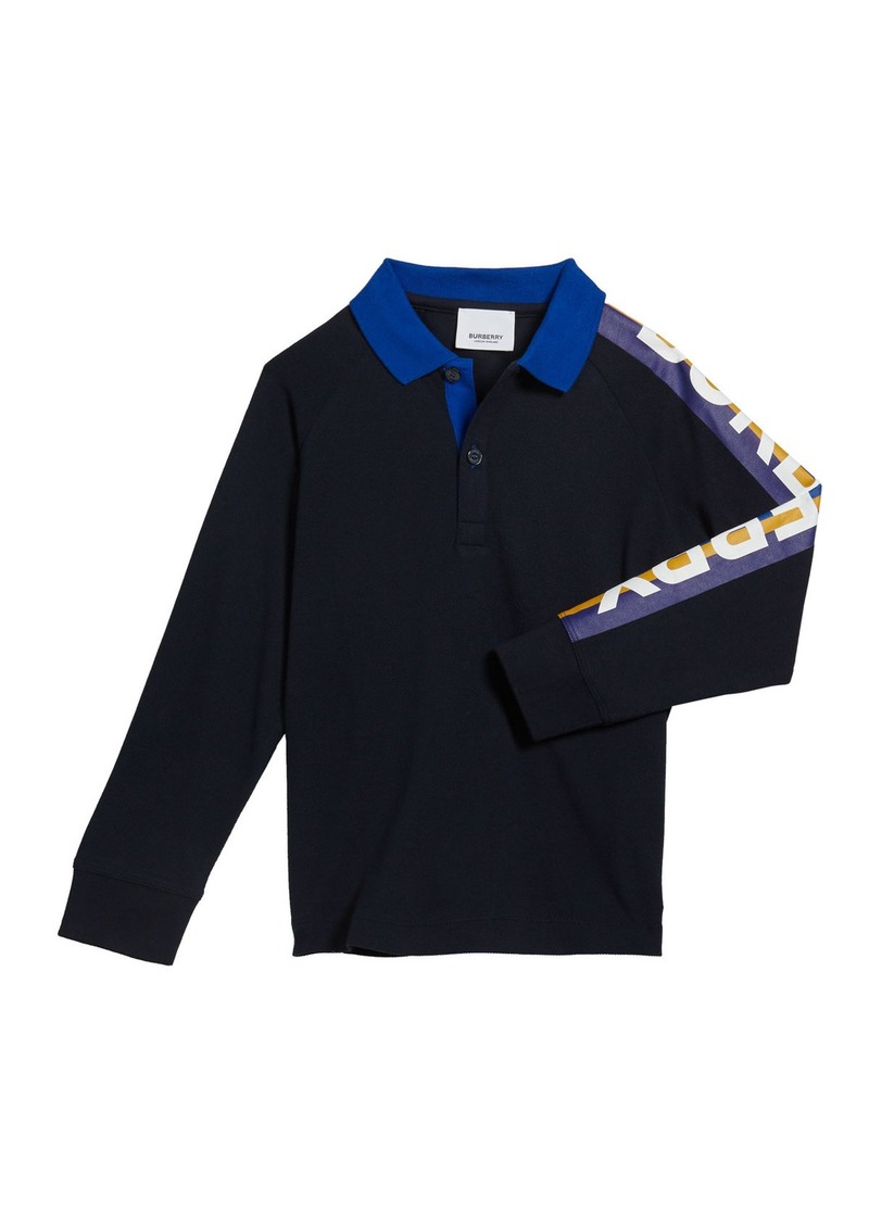 Burberry Boy's Duncan Polo Shirt w/ Logo Down Sleeve  Size 3-14
