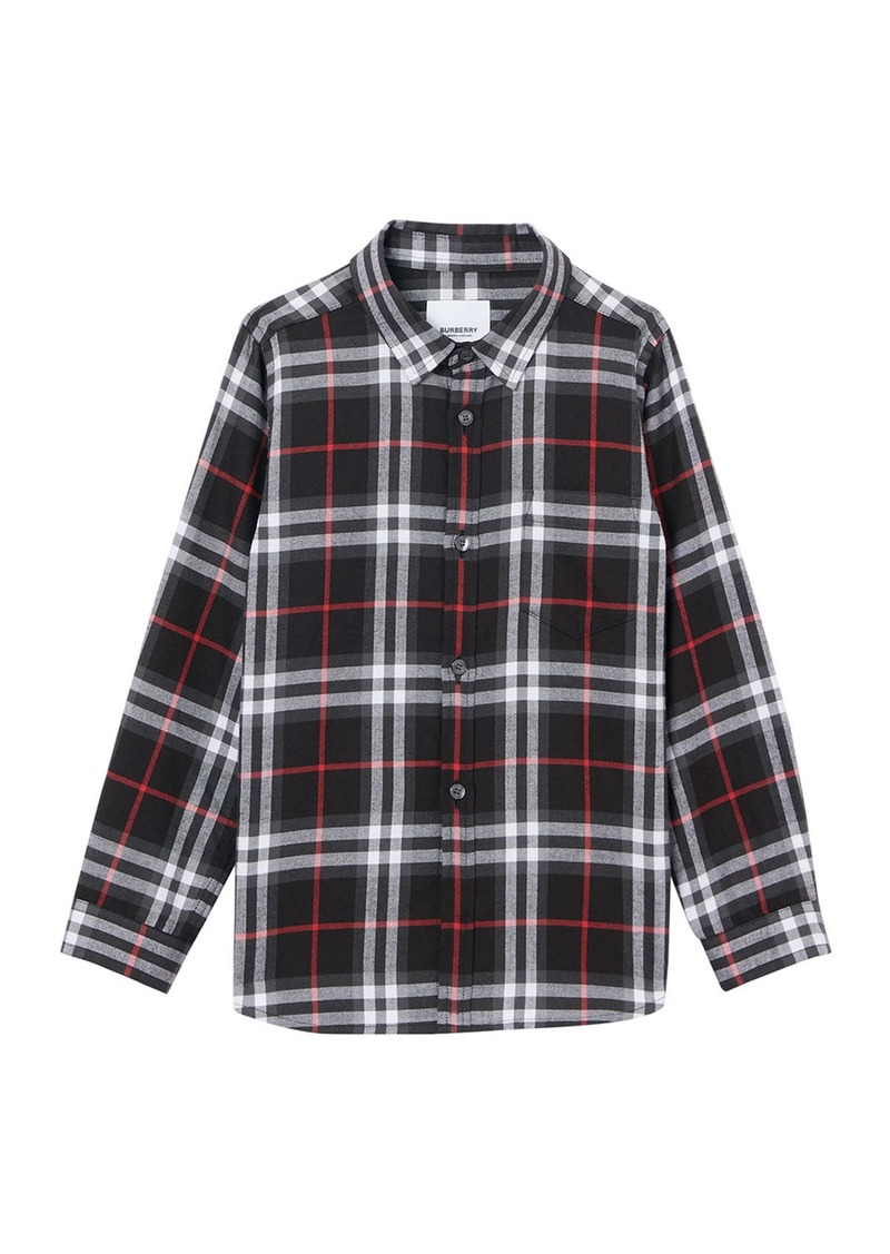 Burberry Boy's Fredrick Check Flannel Shirt  Size 3-14