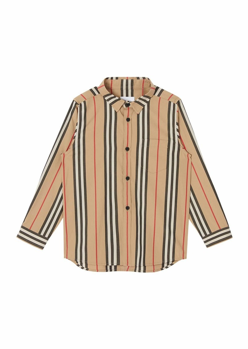Burberry Boy's Fredrick Icon Stripe Long-Sleeve Shirt  Size 3-14