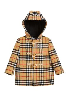 Burberry Brogan Check Hooded Virgin Wool Coat
