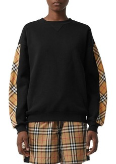 Burberry Bronx Check-Sleeve Sweatshirt