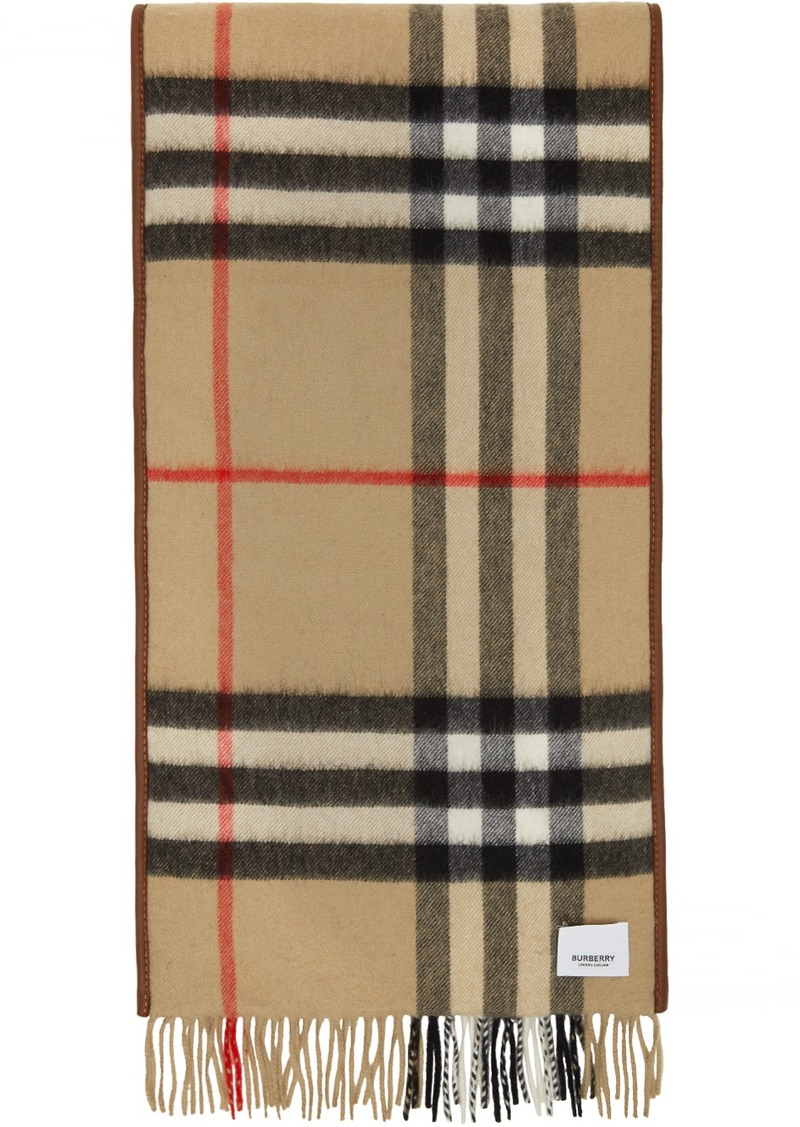 Burberry Brown & Beige Cashmere Quilted Scarf