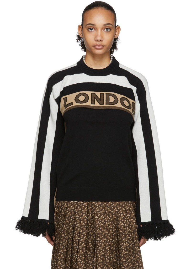 Burberry Brown & Black Cashmere Capelet Sweater