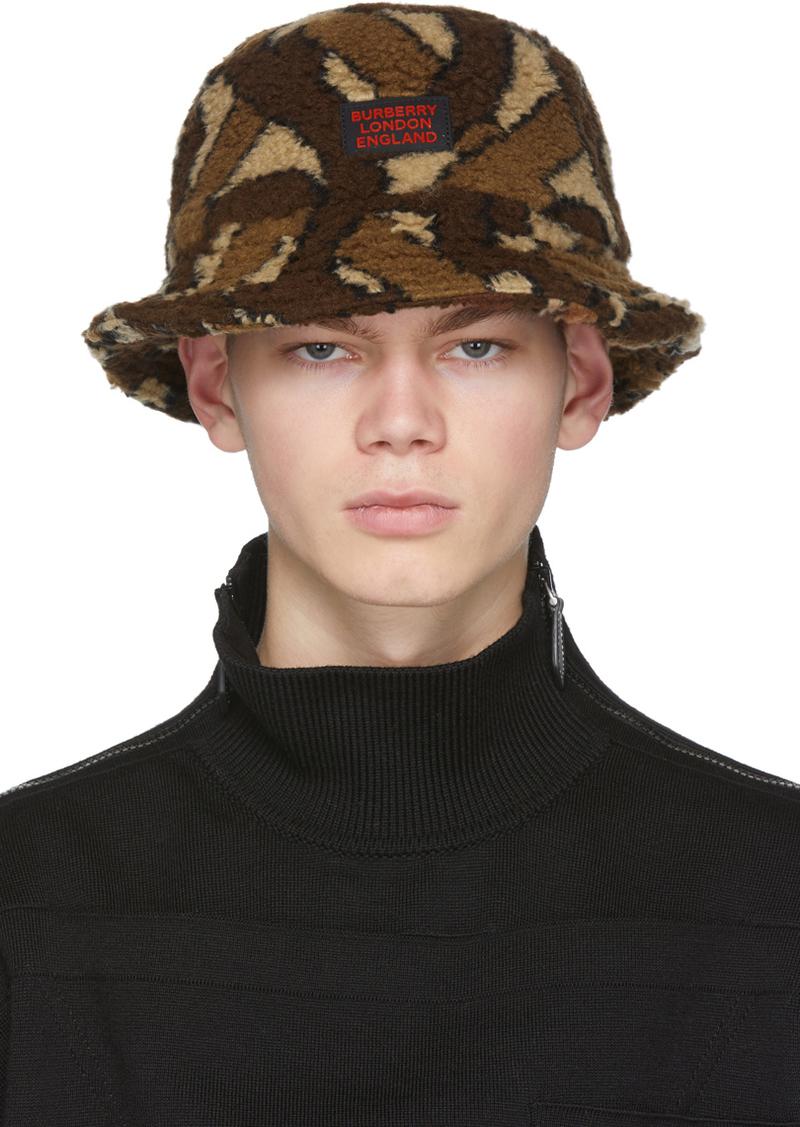 Burberry Brown Fleece Monogram Bucket Hat