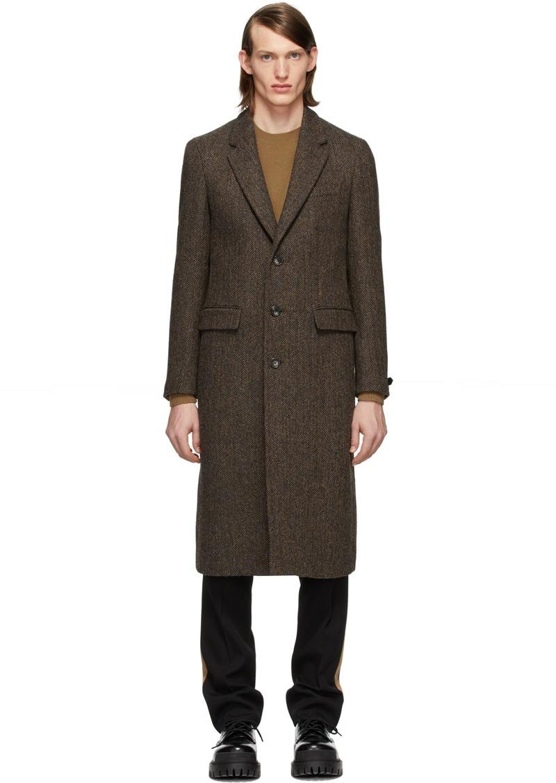 Burberry Brown Herringbone Breasted Coat
