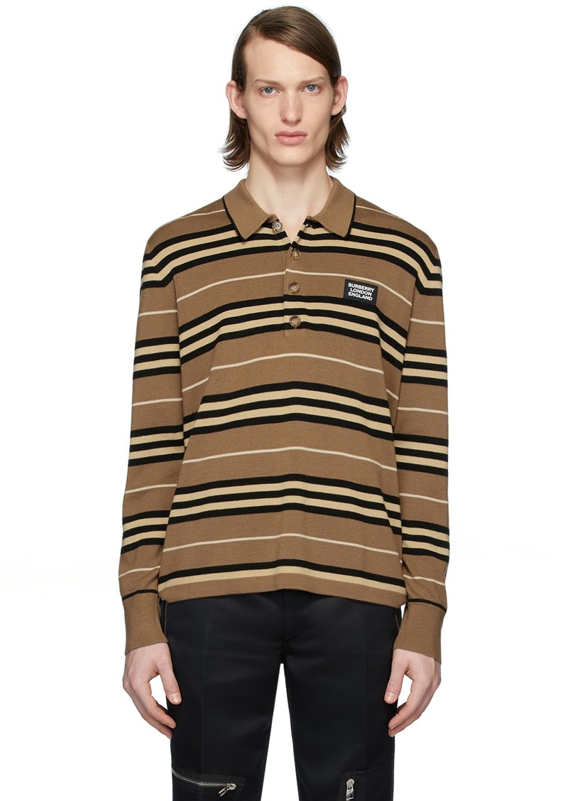 Burberry Brown Icon Stripe Long Sleeve Polo
