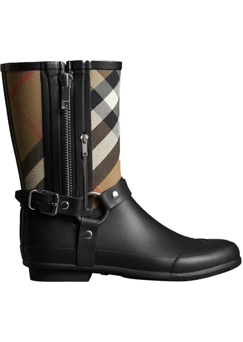 c57dc48e218 Burberry Buckle and Strap Detail Check Rain Boots